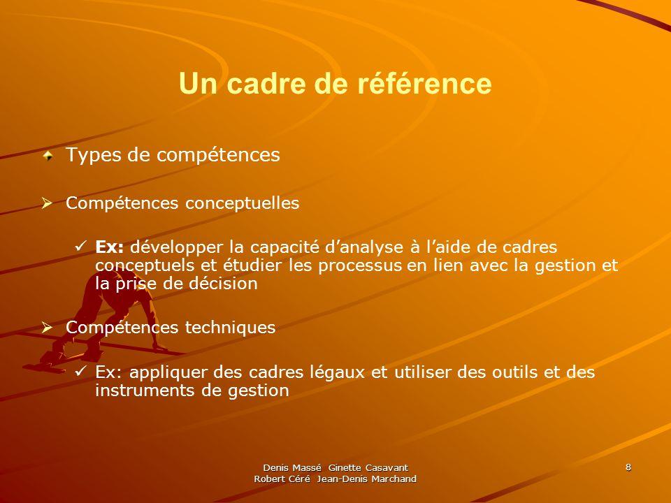 Denis Massé Ginette Casavant Robert Céré Jean-Denis Marchand 8 Un cadre de référence Types de compétences Compétences conceptuelles Ex: développer la