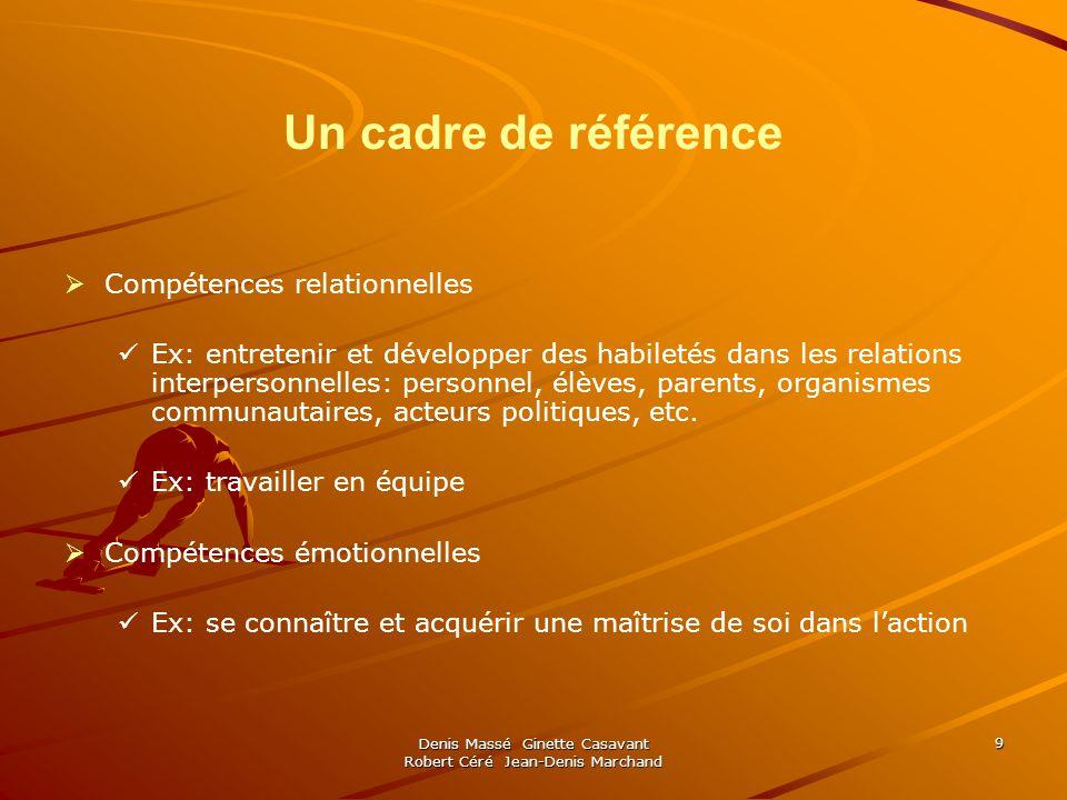 Denis Massé Ginette Casavant Robert Céré Jean-Denis Marchand 9 Un cadre de référence Compétences relationnelles Ex: entretenir et développer des habil