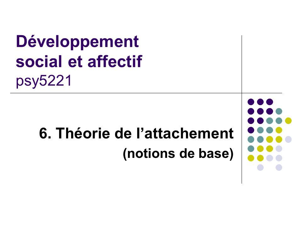 Développement social et affectif psy5221 6. Théorie de lattachement (notions de base)