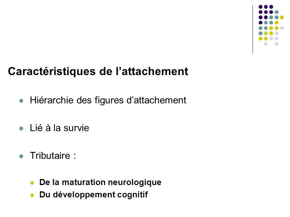 Caractéristiques de lattachement Hiérarchie des figures dattachement Lié à la survie Tributaire : De la maturation neurologique Du développement cognitif