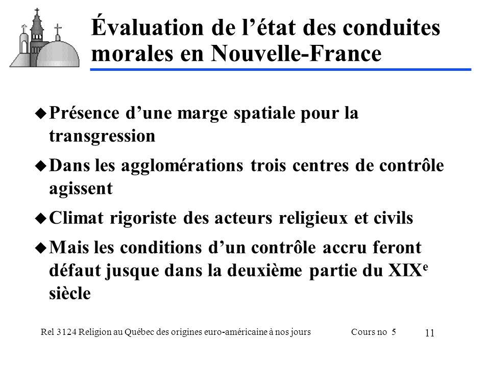 Rel 3124 Religion au Québec des origines euro-américaine à nos joursCours no 5 11 Évaluation de létat des conduites morales en Nouvelle-France Présenc