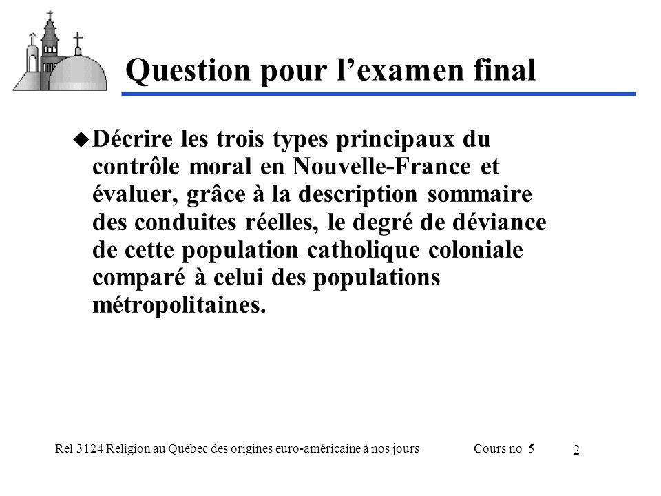 Rel 3124 Religion au Québec des origines euro-américaine à nos joursCours no 5 2 Question pour lexamen final Décrire les trois types principaux du con