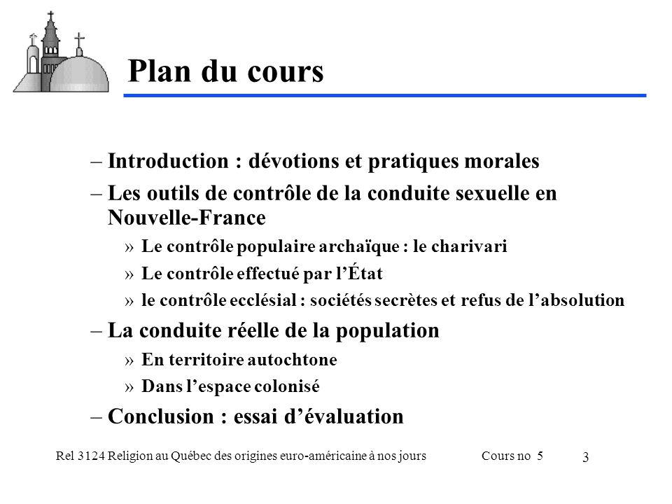 Rel 3124 Religion au Québec des origines euro-américaine à nos joursCours no 5 3 Plan du cours –Introduction : dévotions et pratiques morales –Les out