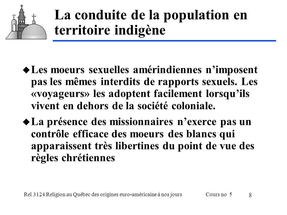 Rel 3124 Religion au Québec des origines euro-américaine à nos joursCours no 5 8 La conduite de la population en territoire indigène Les moeurs sexuel