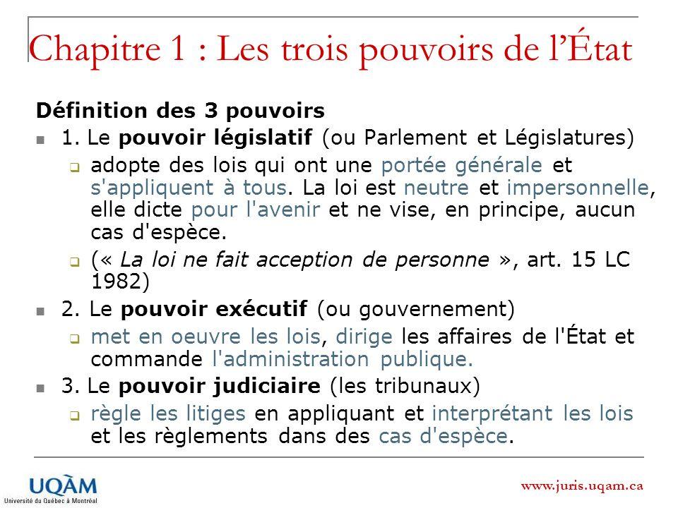 www.juris.uqam.ca Chapitre 1 : Les trois pouvoirs de lÉtat Définition des 3 pouvoirs 1. Le pouvoir législatif (ou Parlement et Législatures) adopte de