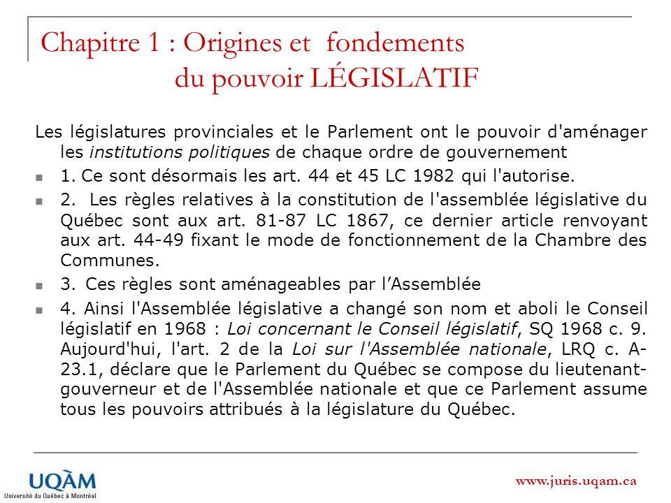 www.juris.uqam.ca Chapitre 1 : Origines et fondements du pouvoir LÉGISLATIF Les législatures provinciales et le Parlement ont le pouvoir d'aménager le