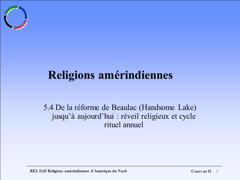 REL 1143 Religions amérindiennes dAmérique du Nord1 Cours no 11 Religions amérindiennes 5.4 De la réforme de Beaulac (Handsome Lake) jusquà aujourdhui : réveil religieux et cycle rituel annuel