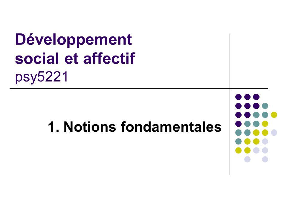 Développement social et affectif psy5221 1. Notions fondamentales