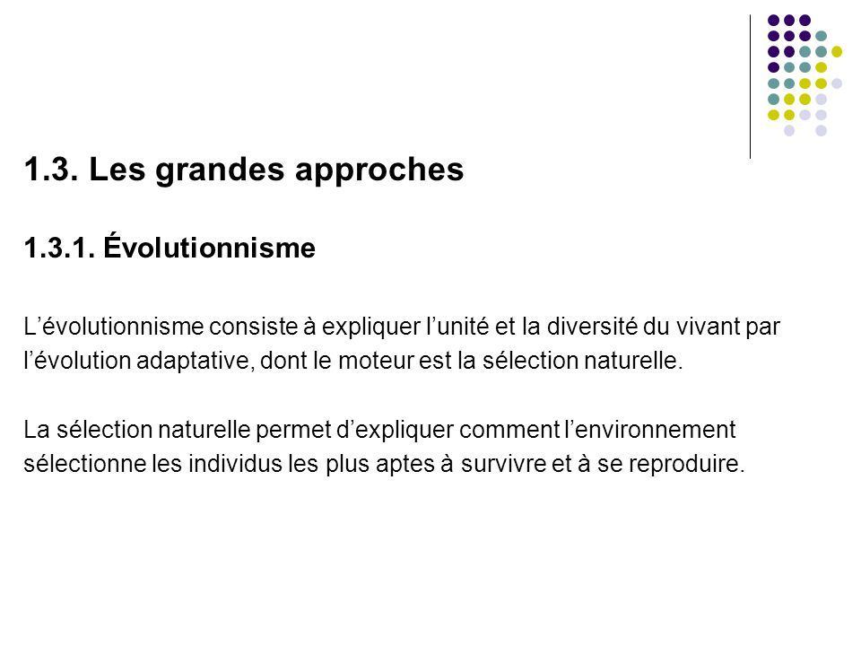 1.3.Les grandes approches 1.3.1.