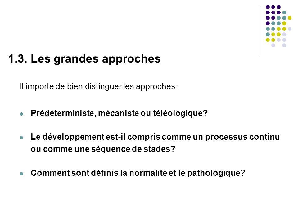1.3. Les grandes approches Il importe de bien distinguer les approches : Prédéterministe, mécaniste ou téléologique? Le développement est-il compris c