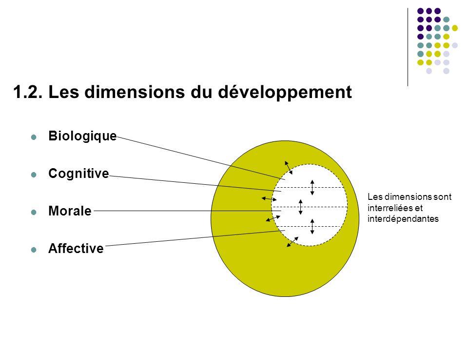 1.2. Les dimensions du développement Biologique Cognitive Morale Affective Les dimensions sont interreliées et interdépendantes