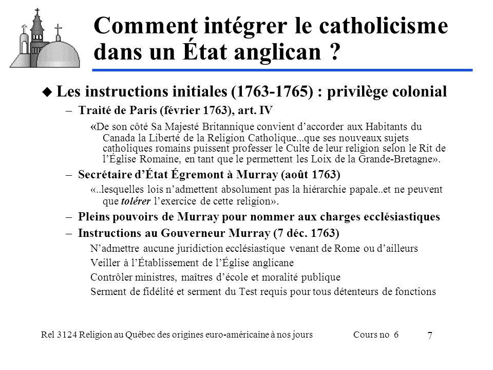Rel 3124 Religion au Québec des origines euro-américaine à nos joursCours no 6 7 Comment intégrer le catholicisme dans un État anglican .