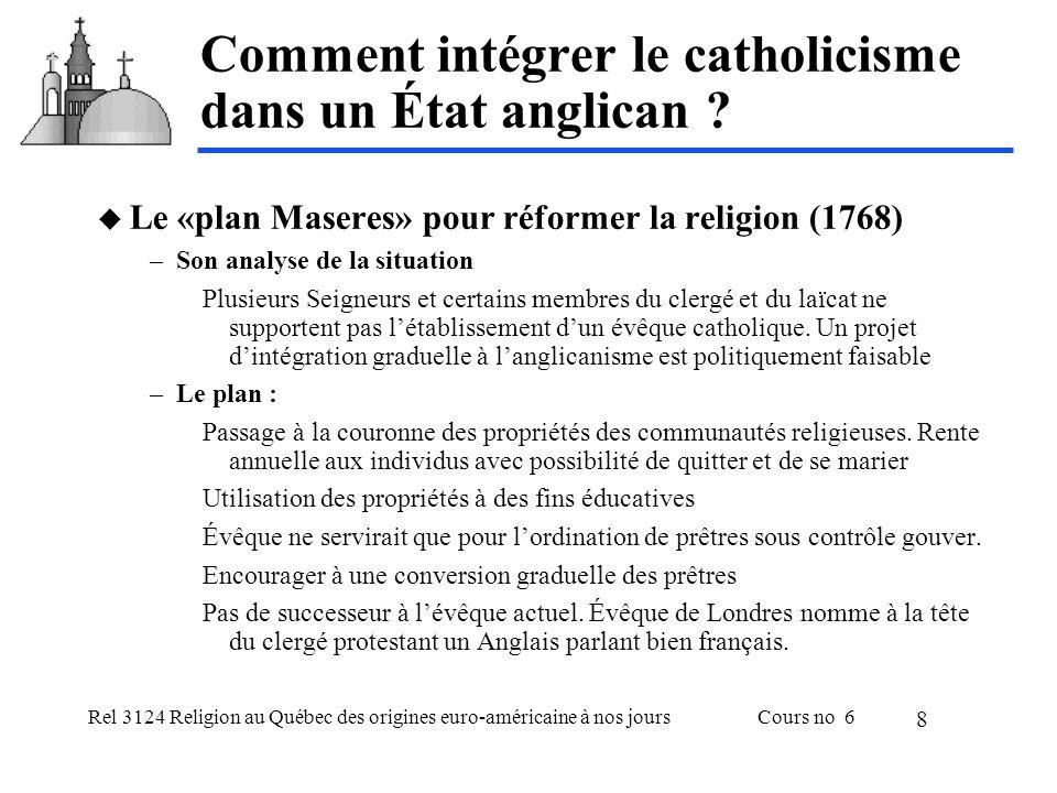 Rel 3124 Religion au Québec des origines euro-américaine à nos joursCours no 6 8 Comment intégrer le catholicisme dans un État anglican .