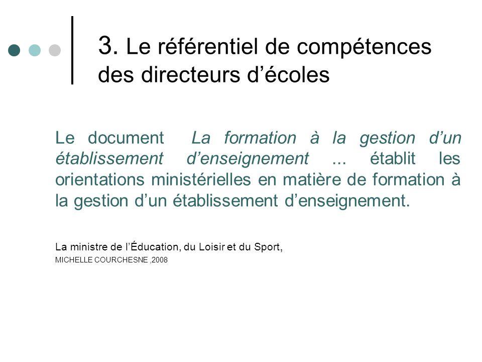 3. Le référentiel de compétences des directeurs décoles Le document La formation à la gestion dun établissement denseignement... établit les orientati