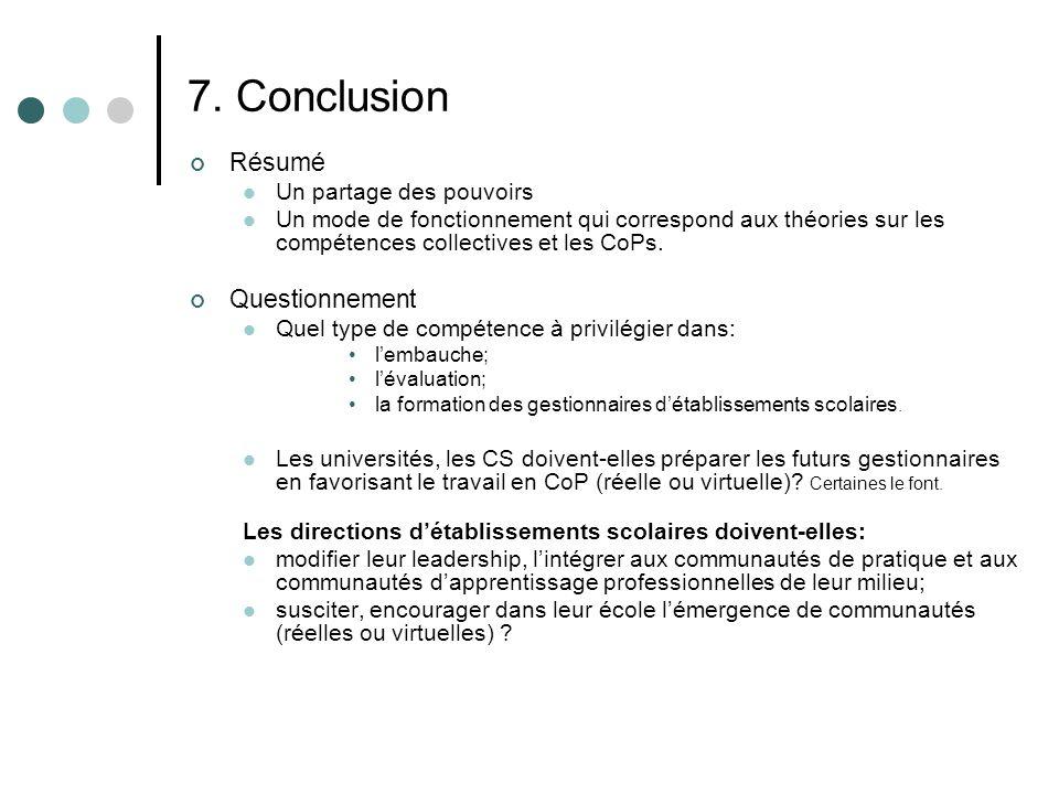 7. Conclusion Résumé Un partage des pouvoirs Un mode de fonctionnement qui correspond aux théories sur les compétences collectives et les CoPs. Questi