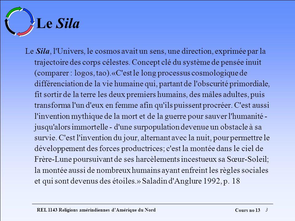 REL 1143 Religions amérindiennes dAmérique du Nord3 Cours no 13 Le Sila Le Sila, l Univers, le cosmos avait un sens, une direction, exprimée par la trajectoire des corps célestes.