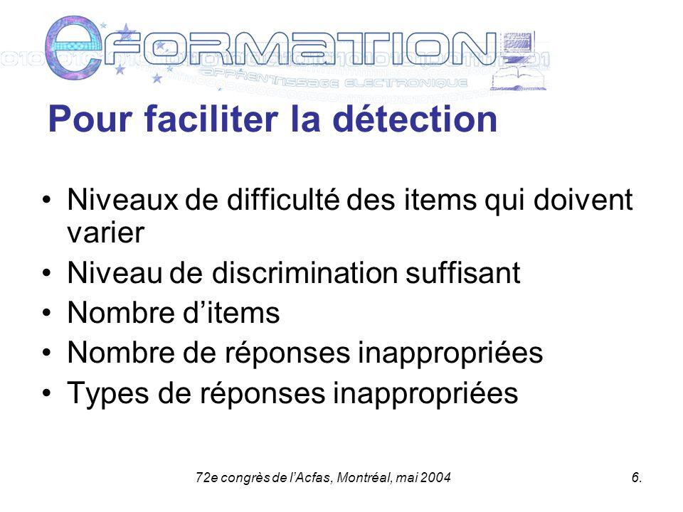 72e congrès de lAcfas, Montréal, mai 20047.