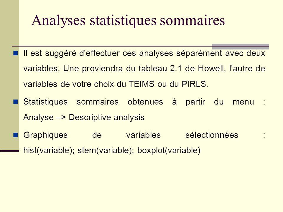 Analyses statistiques sommaires Il est suggéré d effectuer ces analyses séparément avec deux variables.