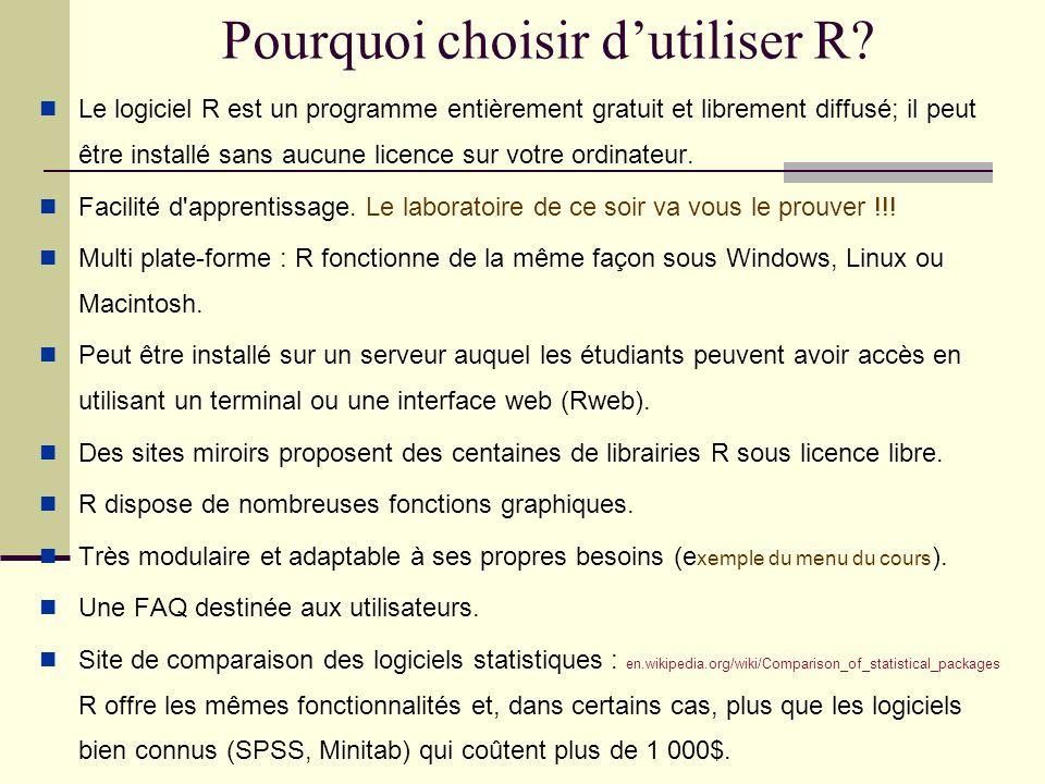 Préparatifs pour débuter le laboratoire Téléchargement du logiciel R et installation sur un poste de travail : Site : http://cran.r-project.org/.