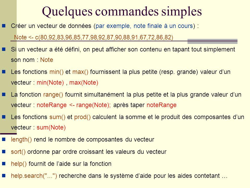 Quelques commandes simples Créer un vecteur de données (par exemple, note finale à un cours) : Note <- c(80,92,83,96,85,77,98,92,87,90,88,91,67,72,86,82) Si un vecteur a été défini, on peut afficher son contenu en tapant tout simplement son nom : Note Les fonctions min() et max() fournissent la plus petite (resp.