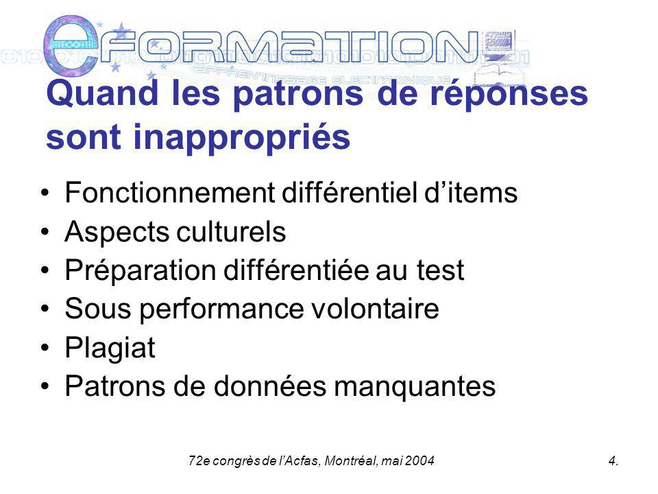 72e congrès de lAcfas, Montréal, mai 20045.