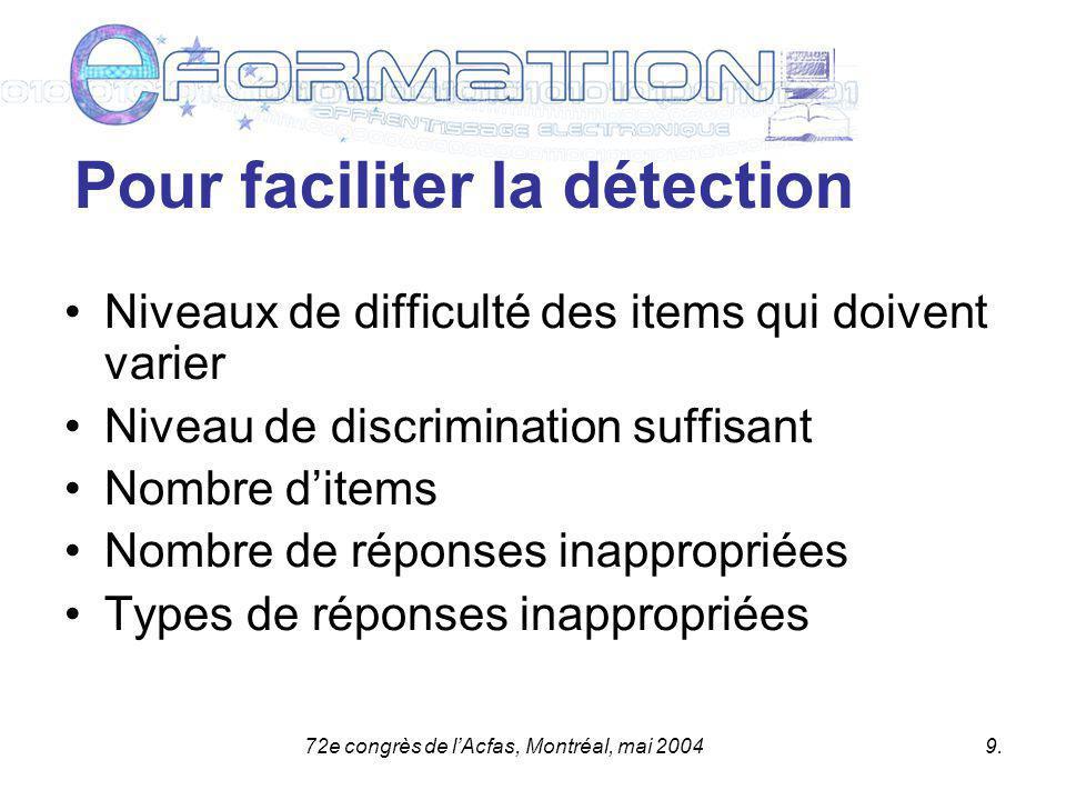 72e congrès de lAcfas, Montréal, mai 20049.