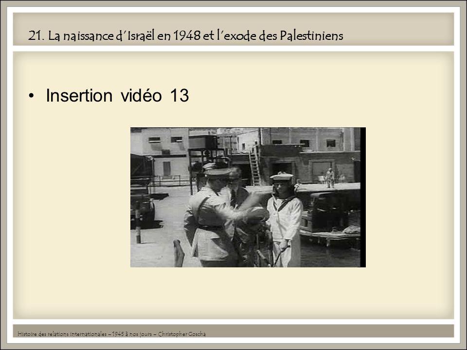 21. La naissance dIsraël en 1948 et lexode des Palestiniens Insertion vidéo 13 Histoire des relations internationales – 1945 à nos jours – Christopher