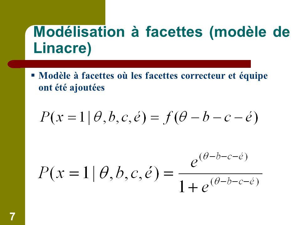 7 Modélisation à facettes (modèle de Linacre) Modèle à facettes où les facettes correcteur et équipe ont été ajoutées