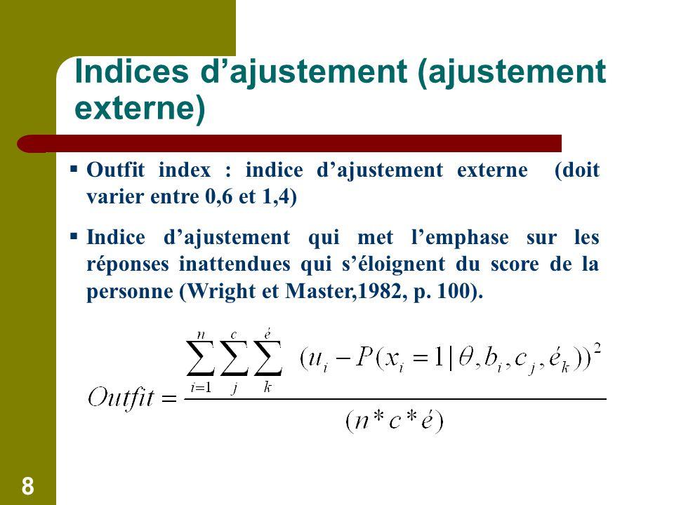 8 Indices dajustement (ajustement externe) Outfit index : indice dajustement externe (doit varier entre 0,6 et 1,4) Indice dajustement qui met lemphase sur les réponses inattendues qui séloignent du score de la personne (Wright et Master,1982, p.