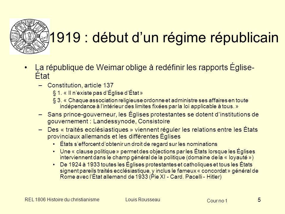 Cour no 1 REL 1806 Histoire du christianismeLouis Rousseau 6 LÉtat nazi et les catholiques Scène politique Scène religieuse Sept.
