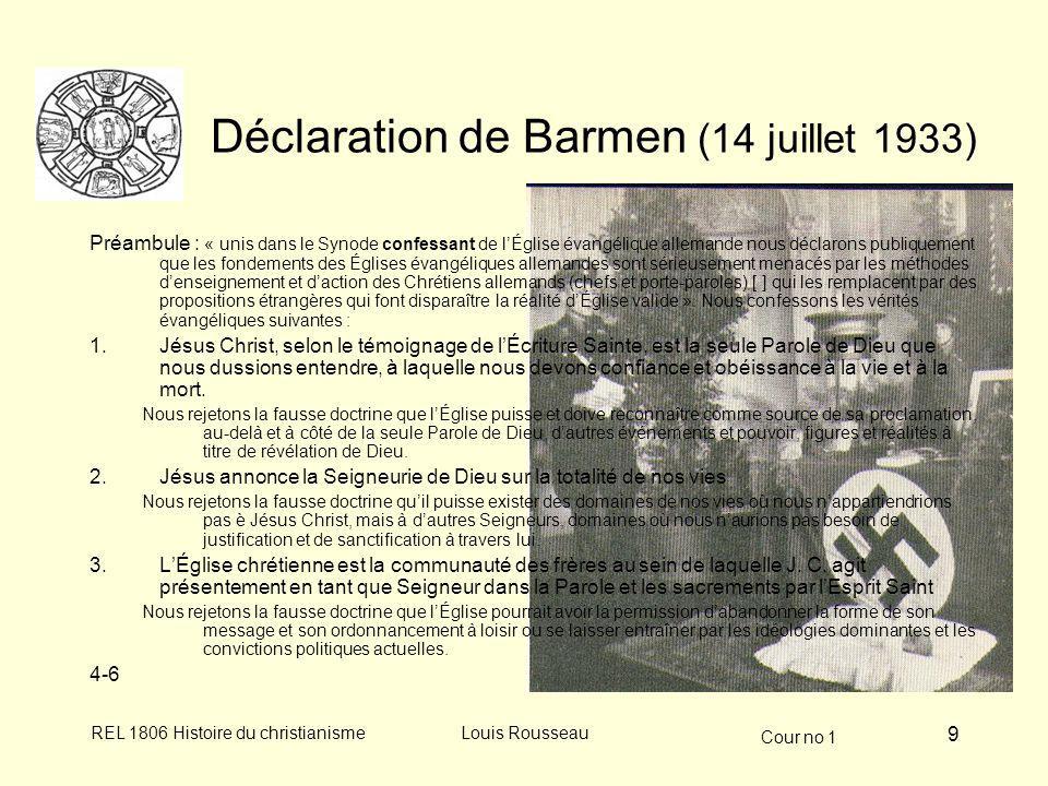Cour no 1 REL 1806 Histoire du christianismeLouis Rousseau 10 Vatican, racisme, génocides 1937 : Pie XI Mit brennender sorge, contre racisme 1938, sept.