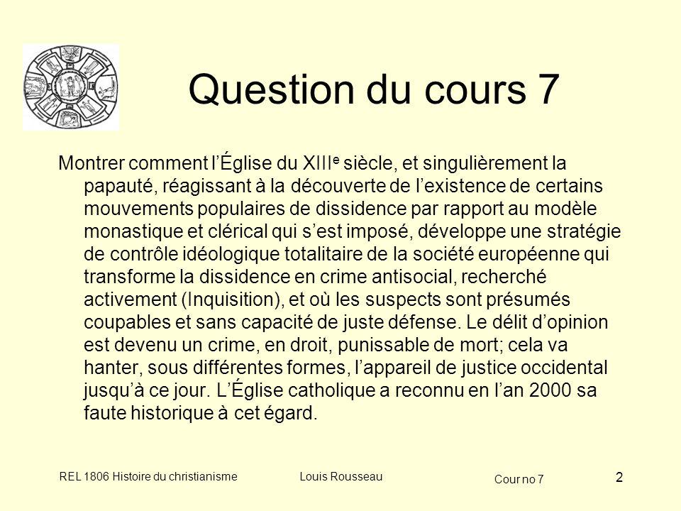 Cour no 7 REL 1806 Histoire du christianismeLouis Rousseau 3 La dissidence religieuse aux XII e et XIII e siècles Mouvement dualiste dorigine bulgare (Bogomiles) au X e s.