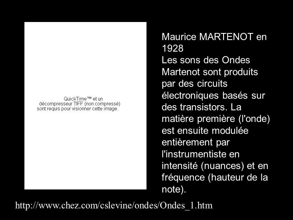 Maurice MARTENOT en 1928 Les sons des Ondes Martenot sont produits par des circuits électroniques basés sur des transistors. La matière première (l'on