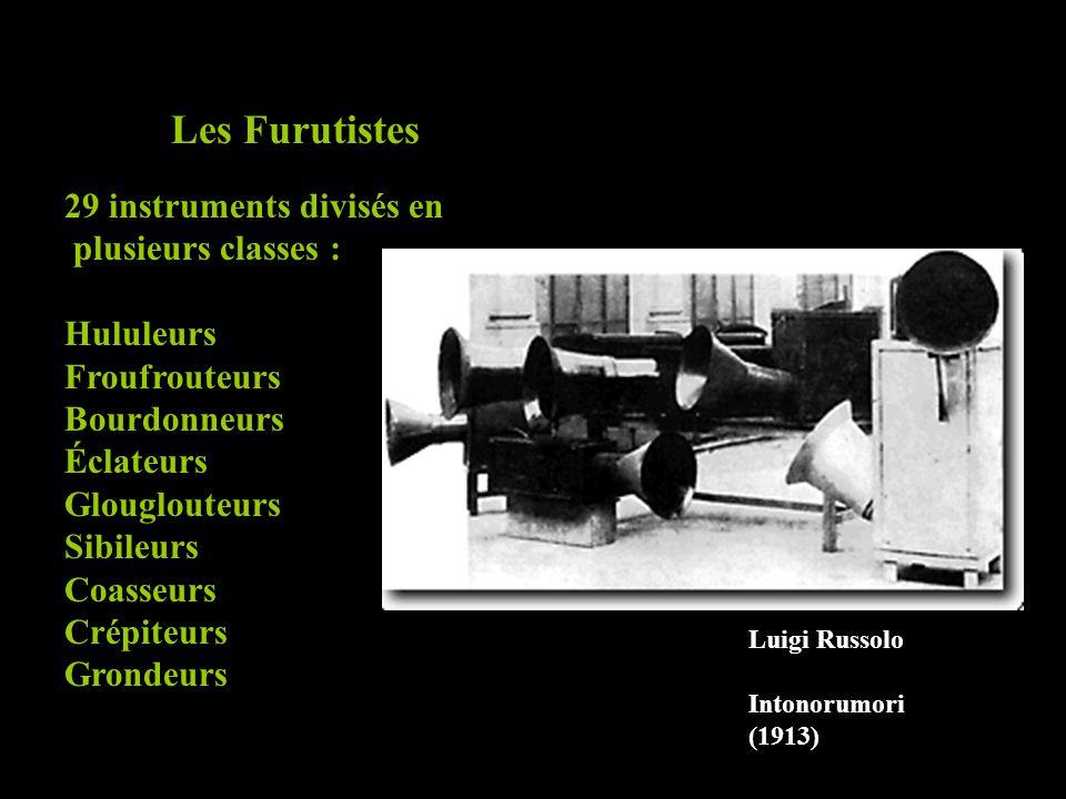 Les Furutistes 29 instruments divisés en plusieurs classes : Hululeurs Froufrouteurs Bourdonneurs Éclateurs Glouglouteurs Sibileurs Coasseurs Crépiteu