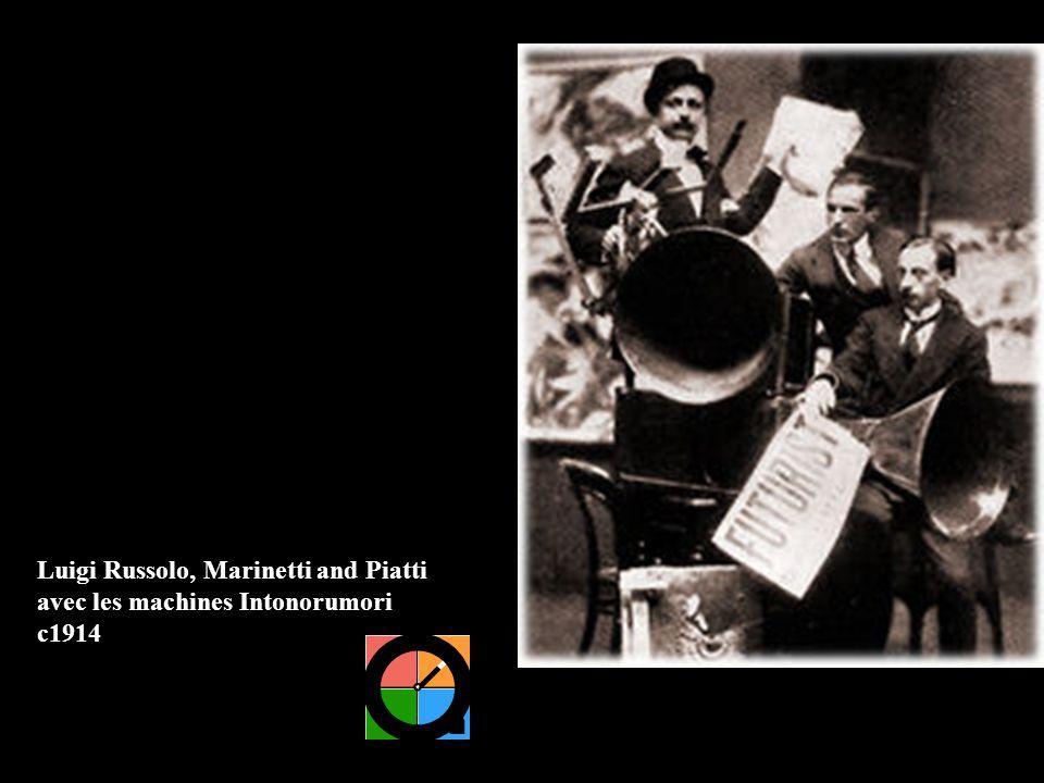 Luigi Russolo, Marinetti and Piatti avec les machines Intonorumori c1914