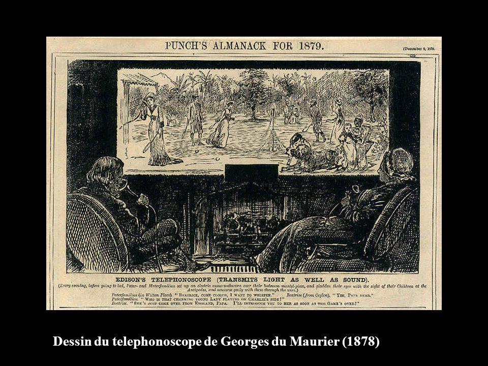 Dessin du telephonoscope de Georges du Maurier (1878)