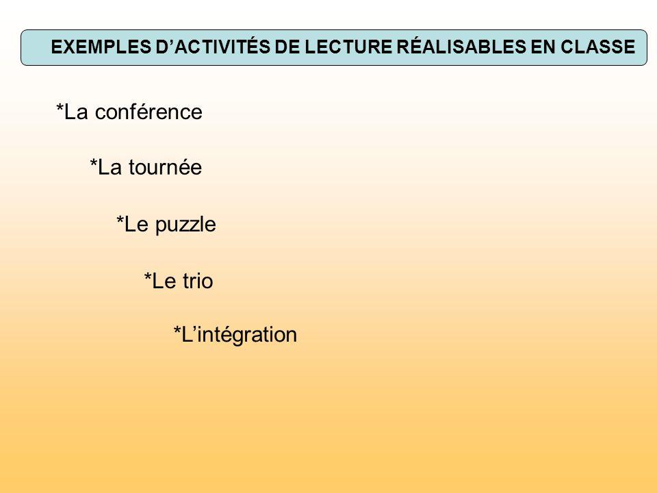 EXEMPLES DACTIVITÉS DE LECTURE RÉALISABLES EN CLASSE *La conférence *La tournée *Le puzzle *Le trio *Lintégration