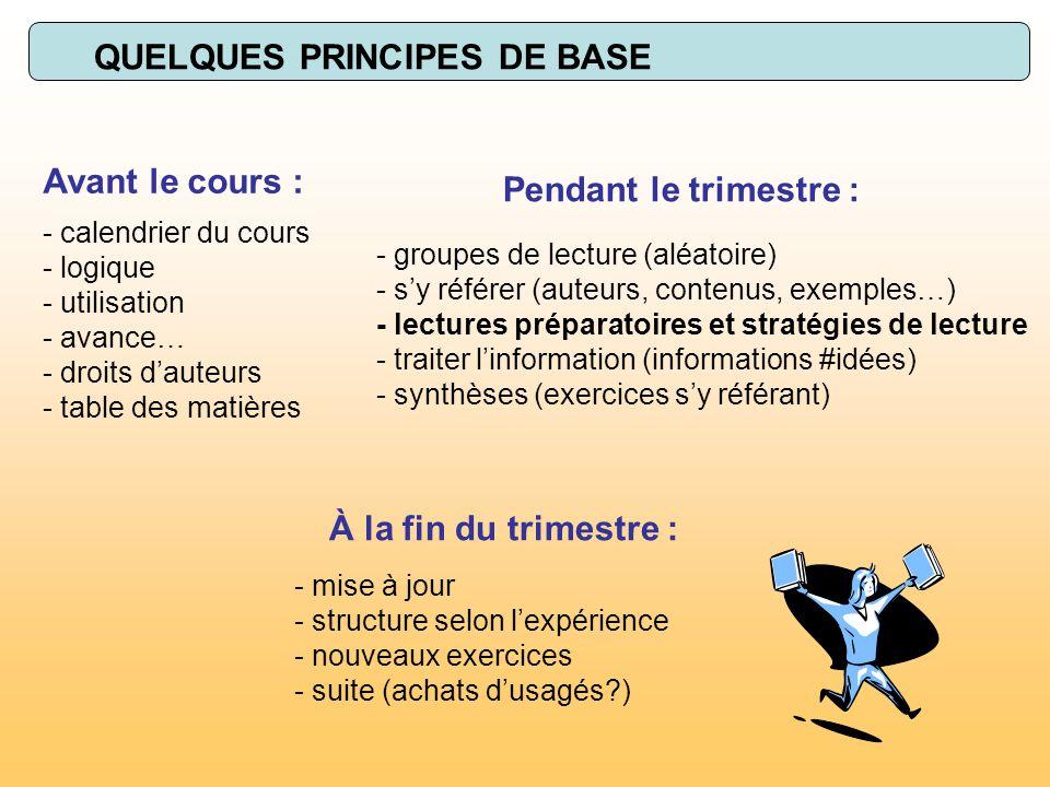QUELQUES PRINCIPES DE BASE - calendrier du cours - logique - utilisation - avance… - droits dauteurs - table des matières Avant le cours : - groupes d