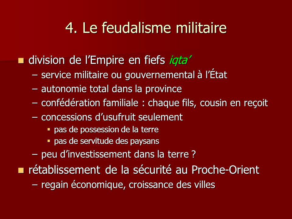 4. Le feudalisme militaire division de lEmpire en fiefs iqta division de lEmpire en fiefs iqta –service militaire ou gouvernemental à lÉtat –autonomie