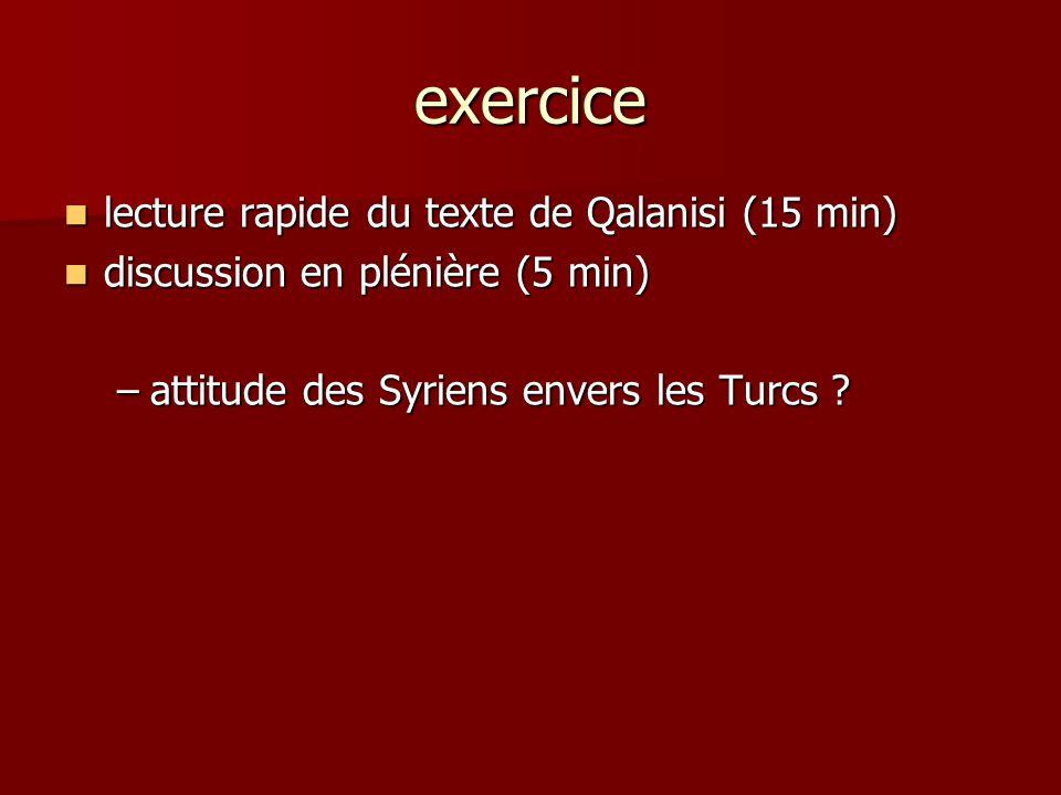 exercice lecture rapide du texte de Qalanisi (15 min) lecture rapide du texte de Qalanisi (15 min) discussion en plénière (5 min) discussion en pléniè