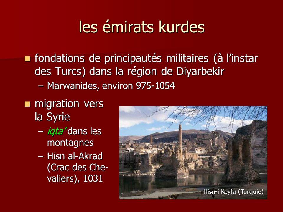 les émirats kurdes fondations de principautés militaires (à linstar des Turcs) dans la région de Diyarbekir fondations de principautés militaires (à l