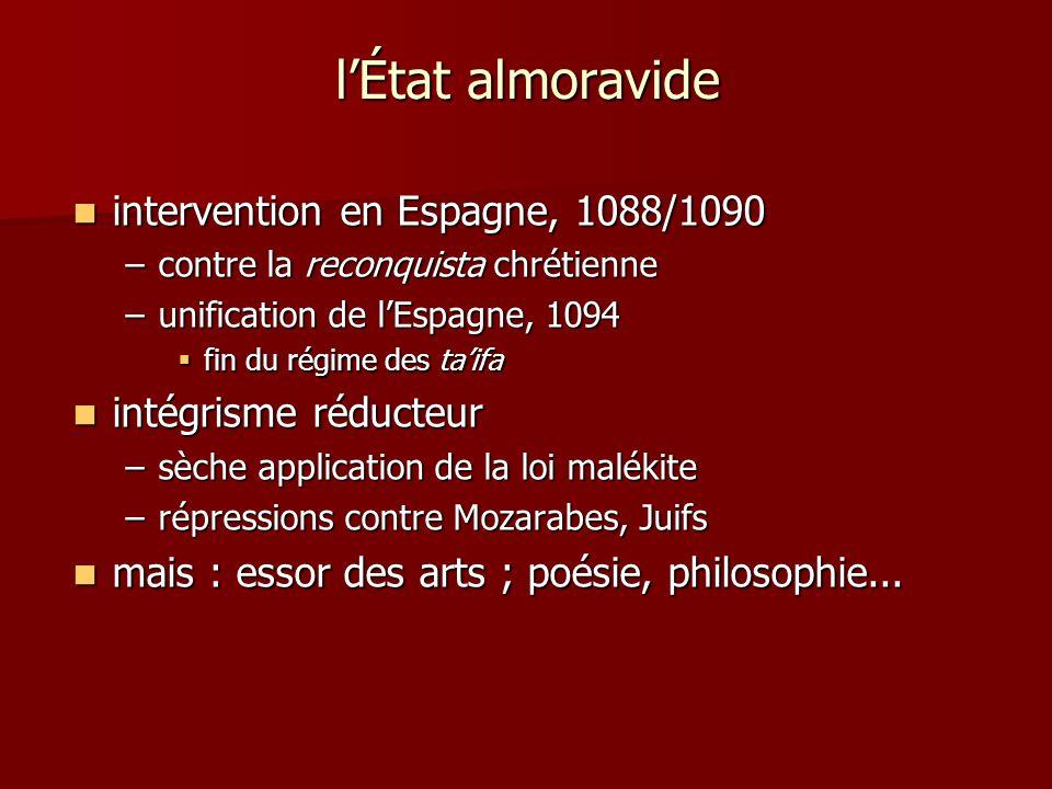 lÉtat almoravide intervention en Espagne, 1088/1090 intervention en Espagne, 1088/1090 –contre la reconquista chrétienne –unification de lEspagne, 109