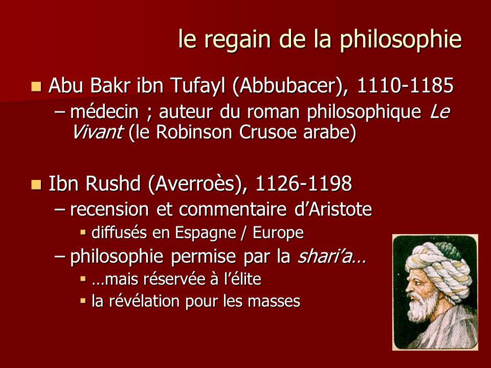 le regain de la philosophie Abu Bakr ibn Tufayl (Abbubacer), 1110-1185 Abu Bakr ibn Tufayl (Abbubacer), 1110-1185 –médecin ; auteur du roman philosoph