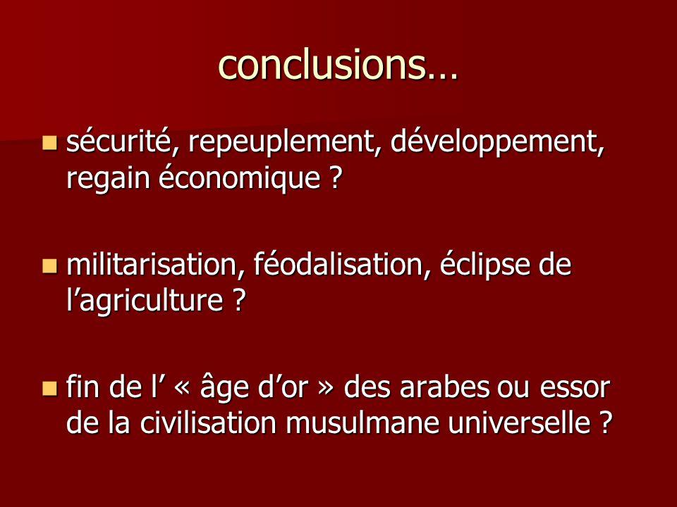 conclusions… sécurité, repeuplement, développement, regain économique ? sécurité, repeuplement, développement, regain économique ? militarisation, féo