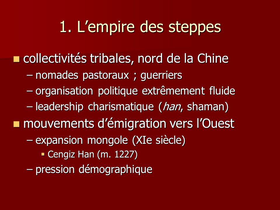 1. Lempire des steppes collectivités tribales, nord de la Chine collectivités tribales, nord de la Chine –nomades pastoraux ; guerriers –organisation