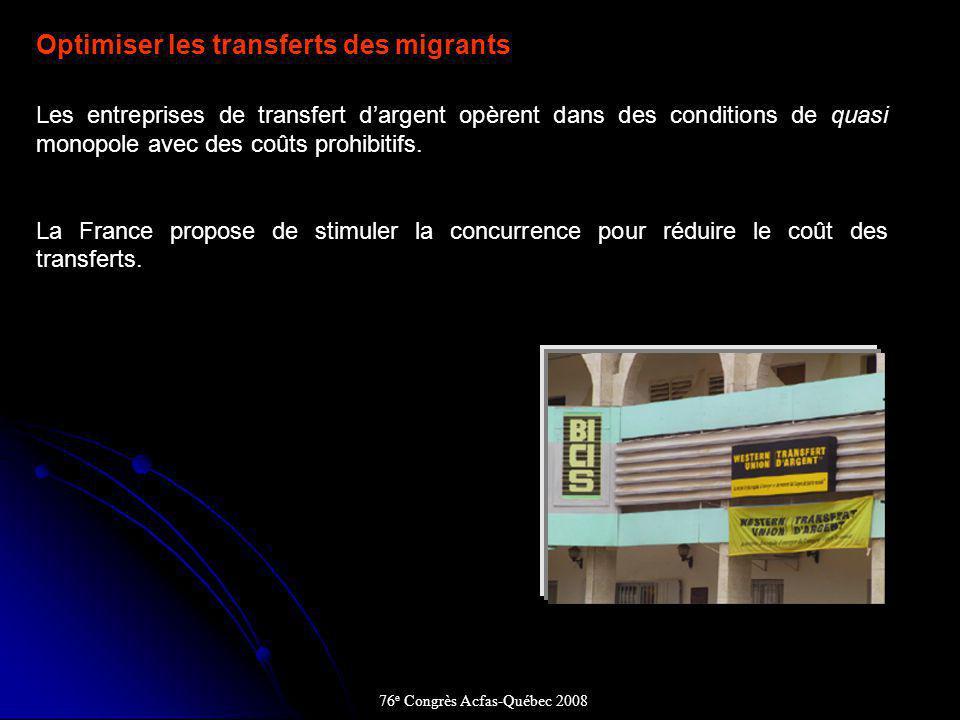 Optimiser les transferts des migrants Les entreprises de transfert dargent opèrent dans des conditions de quasi monopole avec des coûts prohibitifs.
