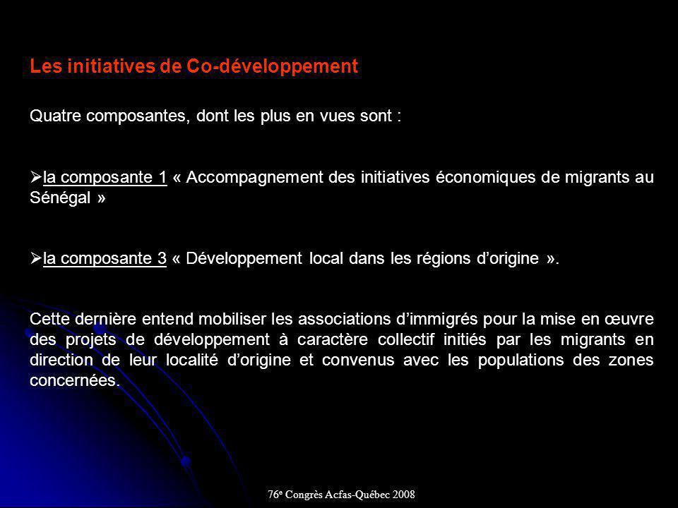 Les initiatives de Co-développement Quatre composantes, dont les plus en vues sont : la composante 1 « Accompagnement des initiatives économiques de migrants au Sénégal » la composante 3 « Développement local dans les régions dorigine ».