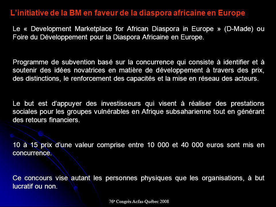 Linitiative de la BM en faveur de la diaspora africaine en Europe Le « Development Marketplace for African Diaspora in Europe » (D-Made) ou Foire du Développement pour la Diaspora Africaine en Europe.