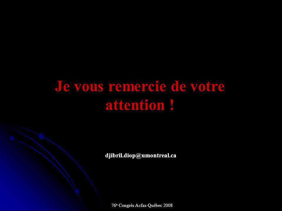 Je vous remercie de votre attention ! djibril.diop@umontreal.ca 76 e Congrès Acfas-Québec 2008