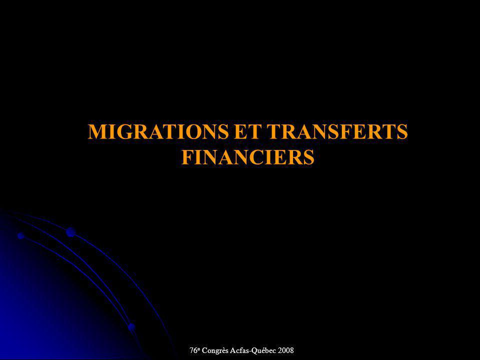 MIGRATIONS ET TRANSFERTS FINANCIERS 76 e Congrès Acfas-Québec 2008